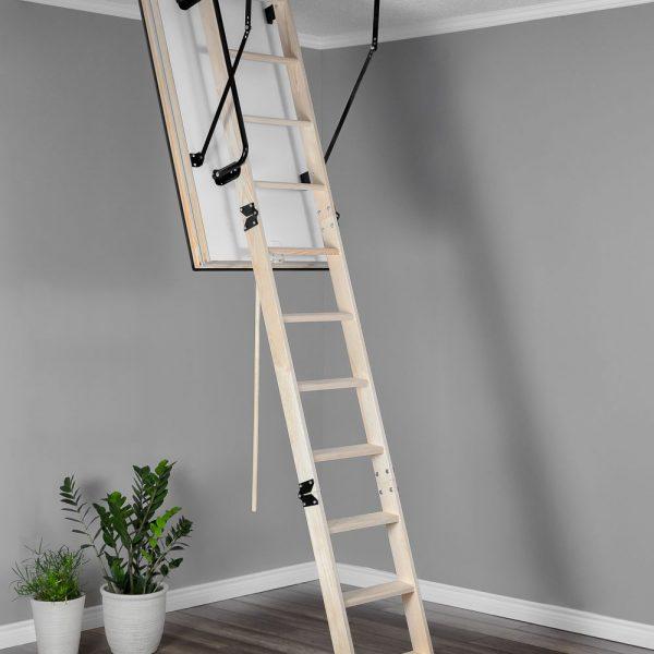 Лестница чердачная складная деревянная 3-х секционная Противопожарная POLAR EI45