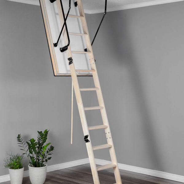 Лестница чердачная складная деревянная 3-х секционная Противопожарная MAXI EI45