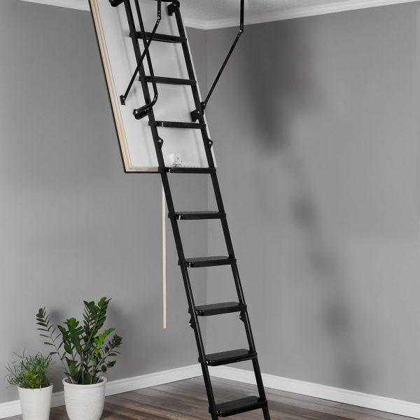 Лестница чердачная складная металлическая 3-х секционная Противопожарная METAL T3 EI60