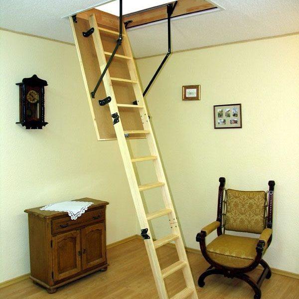 Лестница чердачная складная деревянная 3-х секционная STANDARD