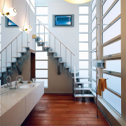 Модульная лестница Престиж с поворотом на 90 гр.