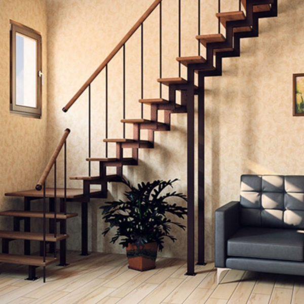 Модульная лестница «Элегант» с поворотом на 90градусов
